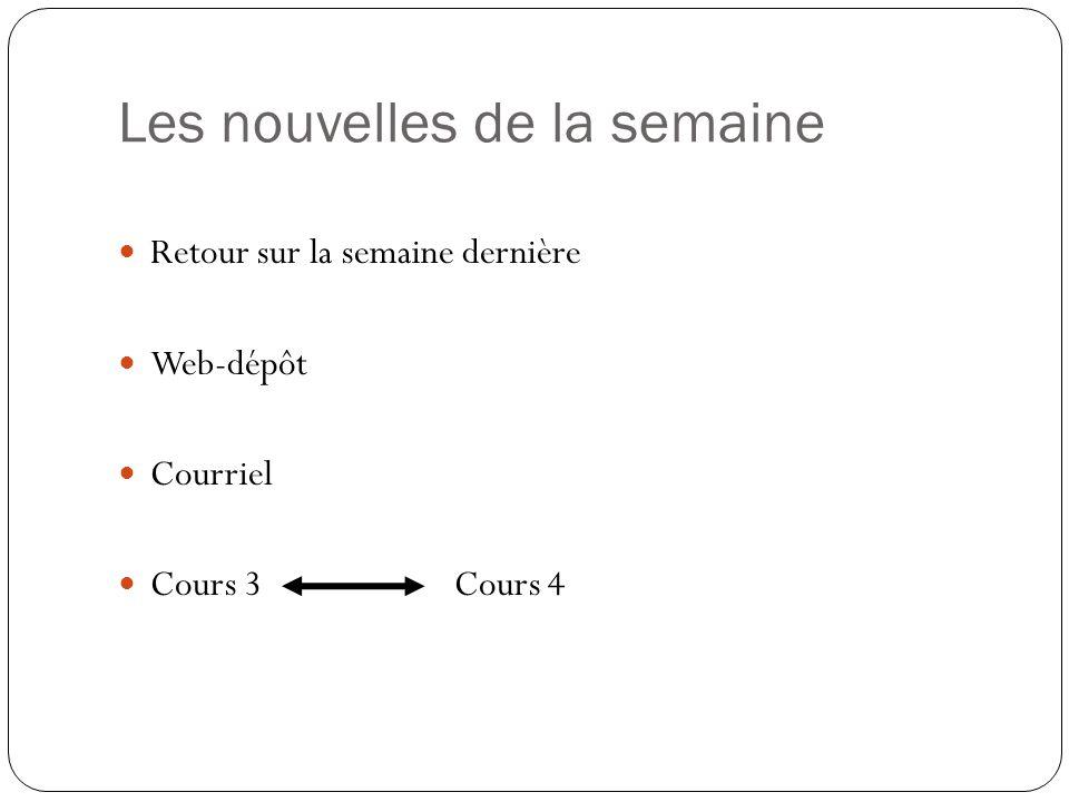 Les nouvelles de la semaine  Retour sur la semaine dernière  Web-dépôt  Courriel  Cours 3 Cours 4