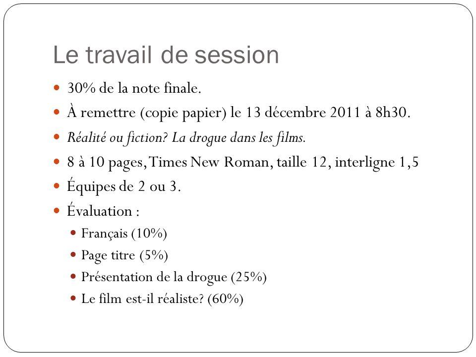 30% de la note finale.  À remettre (copie papier) le 13 décembre 2011 à 8h30.  Réalité ou fiction? La drogue dans les films.  8 à 10 pages, Times