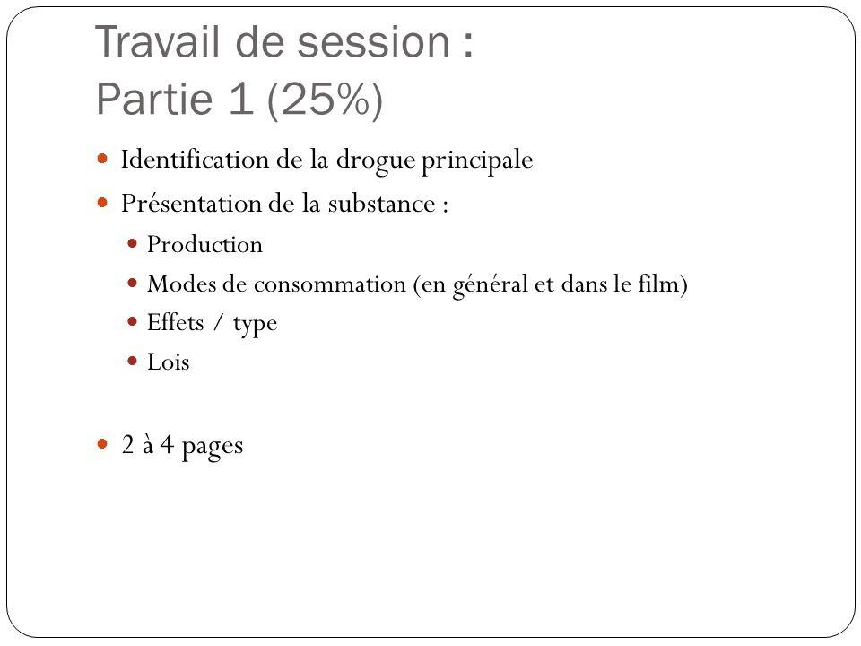 Travail de session : Partie 1 (25%)  Identification de la drogue principale  Présentation de la substance :  Production  Modes de consommation (en