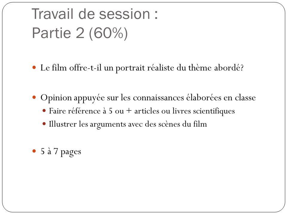 Travail de session : Partie 2 (60%)  Le film offre-t-il un portrait réaliste du thème abordé?  Opinion appuyée sur les connaissances élaborées en cl