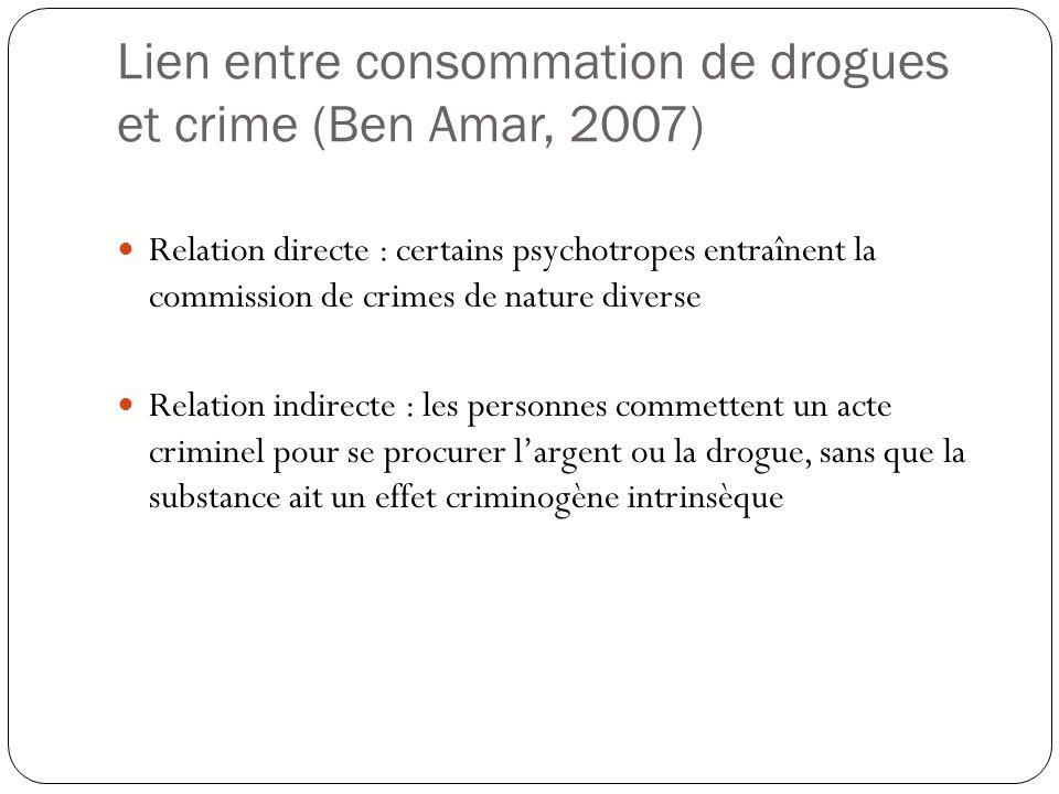 Lien entre consommation de drogues et crime (Ben Amar, 2007)  Relation directe : certains psychotropes entraînent la commission de crimes de nature d