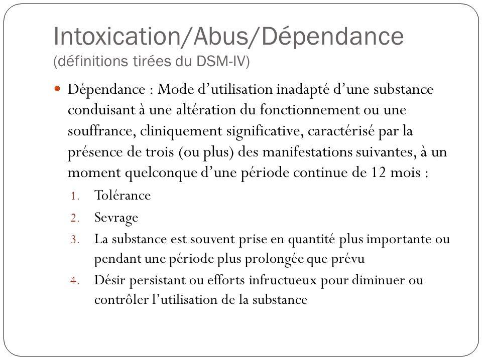 Intoxication/Abus/Dépendance (définitions tirées du DSM-IV)  Dépendance : Mode d'utilisation inadapté d'une substance conduisant à une altération du