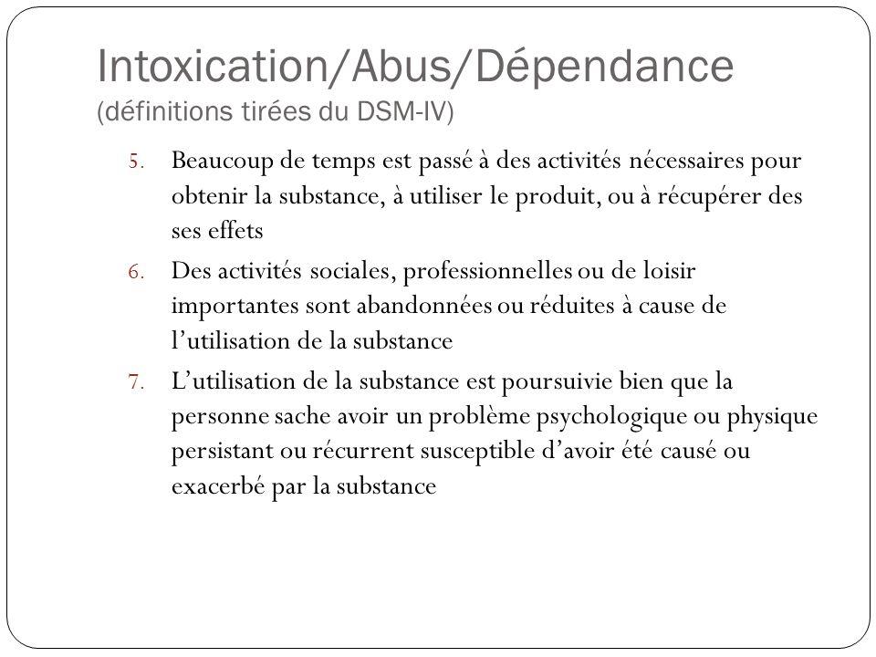 Intoxication/Abus/Dépendance (définitions tirées du DSM-IV) 5. Beaucoup de temps est passé à des activités nécessaires pour obtenir la substance, à ut