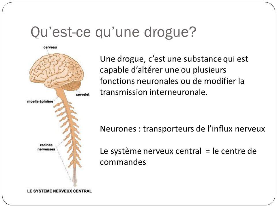 Qu'est-ce qu'une drogue? Neurones : transporteurs de l'influx nerveux Le système nerveux central = le centre de commandes Une drogue, c'est une substa