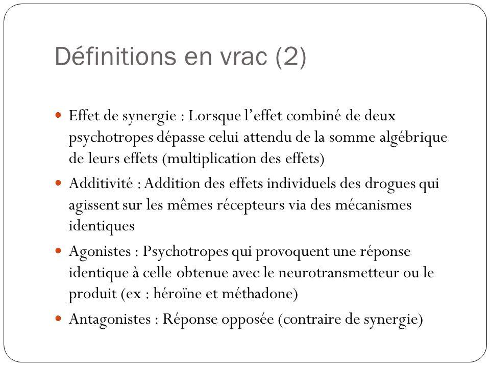 Définitions en vrac (2)  Effet de synergie : Lorsque l'effet combiné de deux psychotropes dépasse celui attendu de la somme algébrique de leurs effet