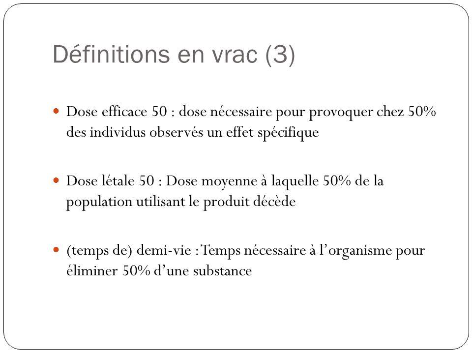 Définitions en vrac (3)  Dose efficace 50 : dose nécessaire pour provoquer chez 50% des individus observés un effet spécifique  Dose létale 50 : Dos