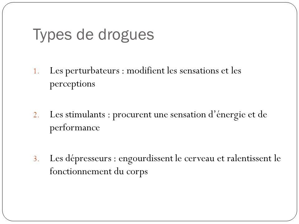 Types de drogues 1. Les perturbateurs : modifient les sensations et les perceptions 2. Les stimulants : procurent une sensation d'énergie et de perfor