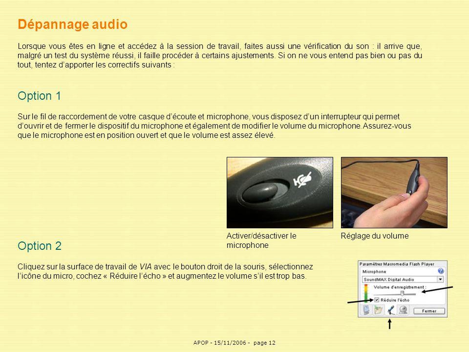 APOP12 Dépannage audio Lorsque vous êtes en ligne et accédez à la session de travail, faites aussi une vérification du son : il arrive que, malgré un