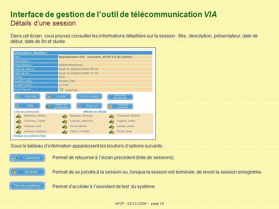 APOP19 Interface de gestion de l'outil de télécommunication VIA Détails d'une session Dans cet écran, vous pouvez consulter les informations détaillée