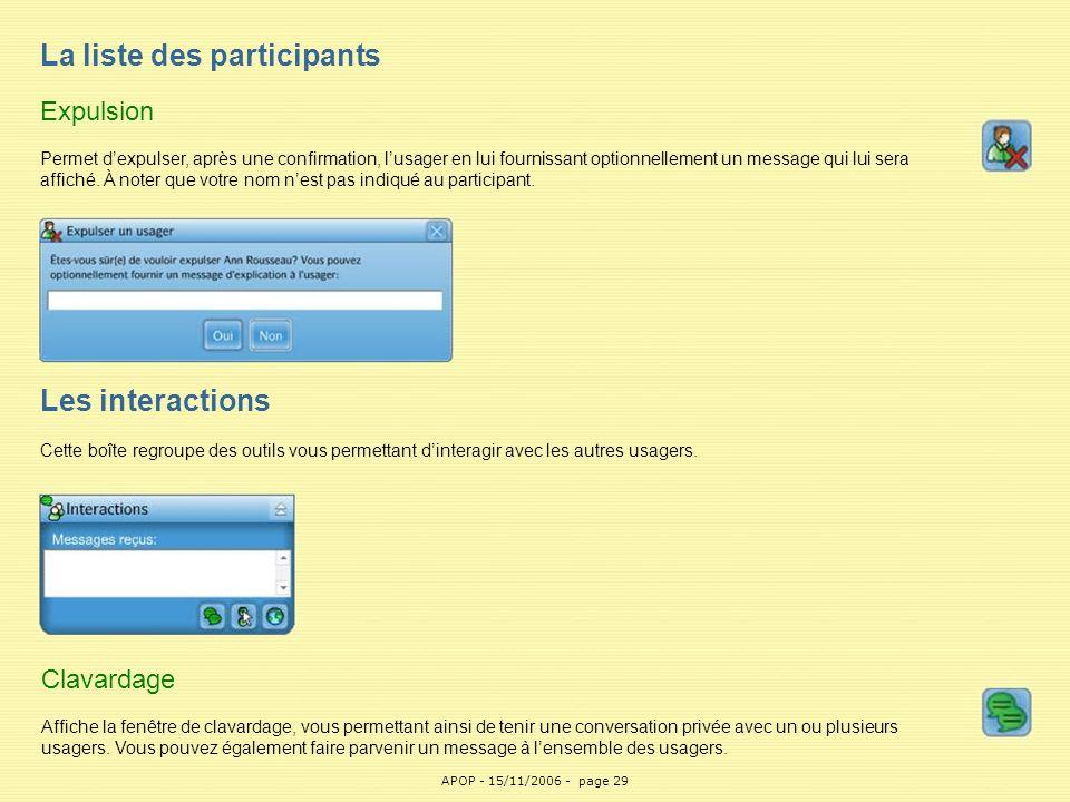 APOP29 La liste des participants Expulsion Permet d'expulser, après une confirmation, l'usager en lui fournissant optionnellement un message qui lui s