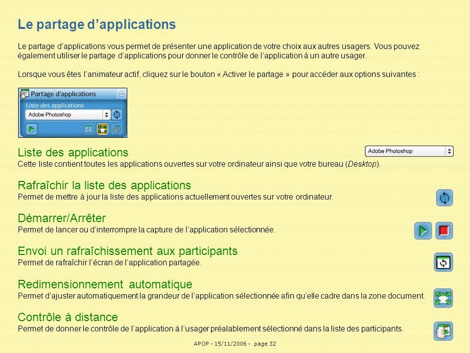 APOP32 Le partage d'applications Le partage d'applications vous permet de présenter une application de votre choix aux autres usagers. Vous pouvez éga