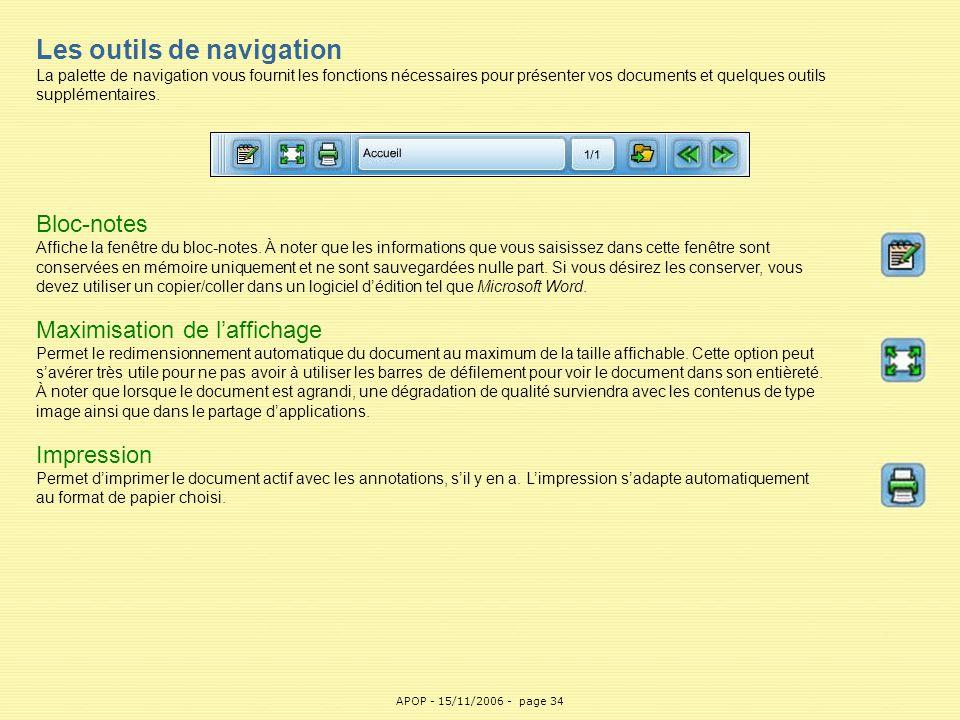 APOP34 Les outils de navigation La palette de navigation vous fournit les fonctions nécessaires pour présenter vos documents et quelques outils supplé