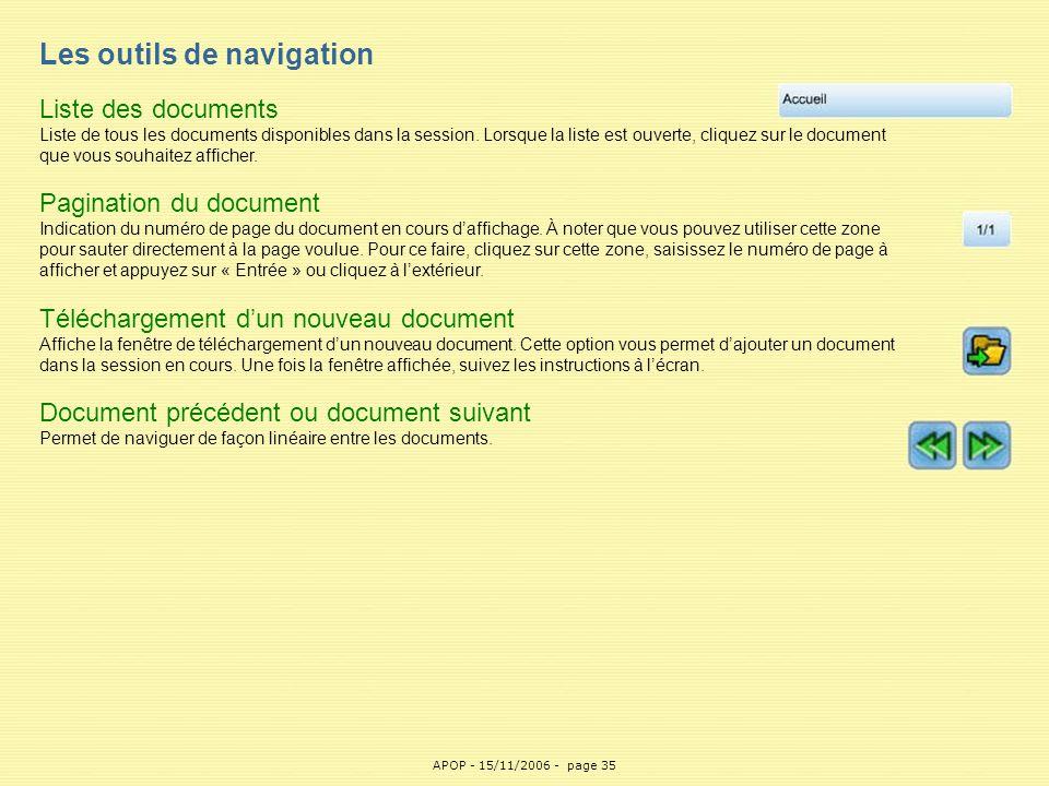 APOP35 Les outils de navigation Liste des documents Liste de tous les documents disponibles dans la session. Lorsque la liste est ouverte, cliquez sur