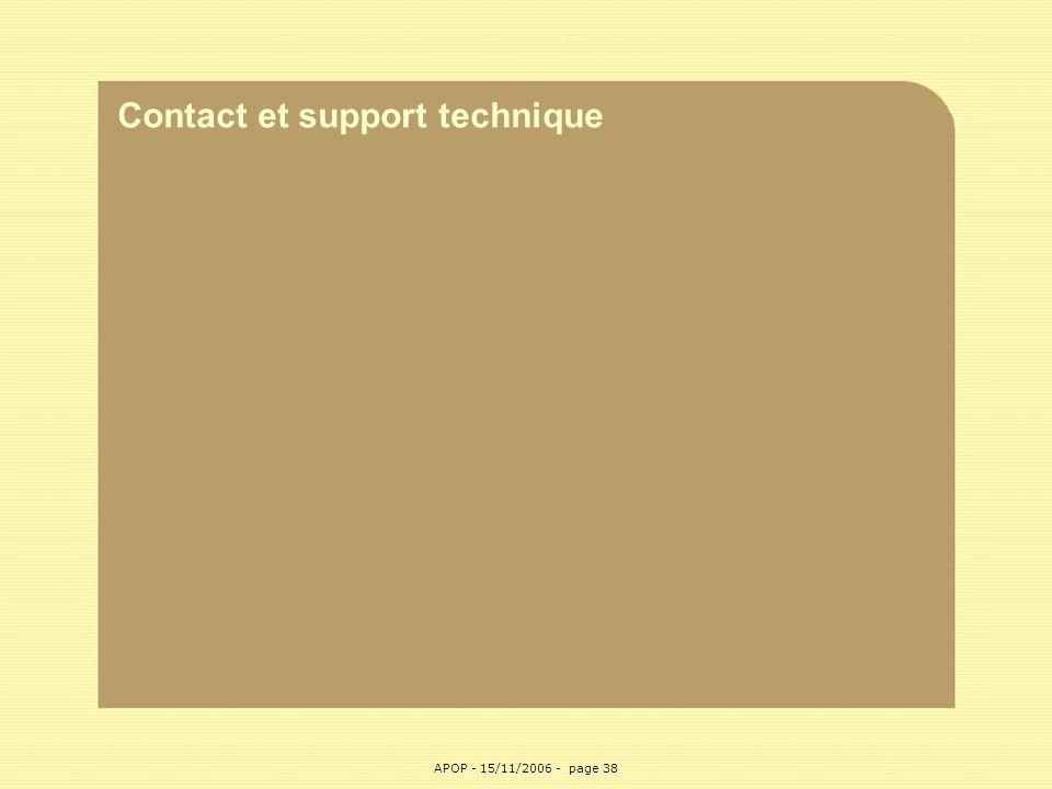 APOP38 Contact et support technique APOP - 15/11/2006 - page 38