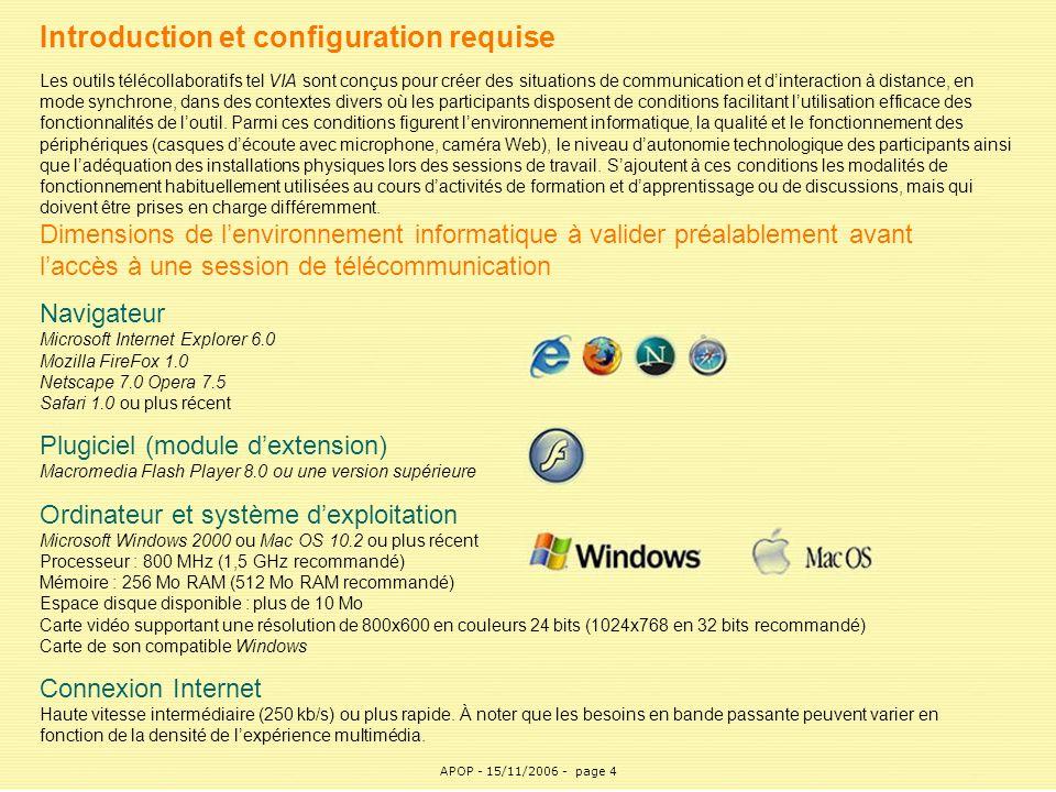 APOP4 Introduction et configuration requise Les outils télécollaboratifs tel VIA sont conçus pour créer des situations de communication et d'interacti