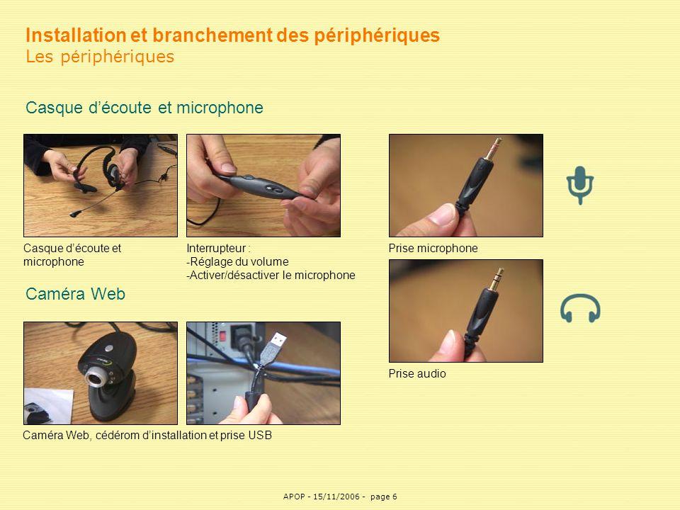 APOP6 Installation et branchement des périphériques Les p é riph é riques Casque d'écoute et microphone Interrupteur : -Réglage du volume -Activer/dés