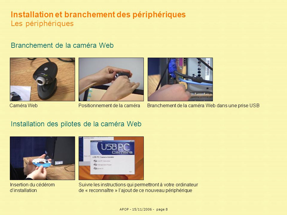 APOP8 Installation et branchement des périphériques Les p é riph é riques Branchement de la caméra Web Positionnement de la caméra Installation des pi