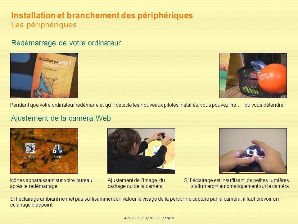 APOP9 Installation et branchement des périphériques Les p é riph é riques Redémarrage de votre ordinateur Ajustement de la caméra Web Icônes apparaiss