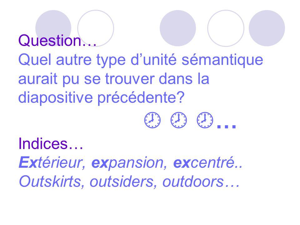 Question… Quel autre type d'unité sémantique aurait pu se trouver dans la diapositive précédente?    … Indices… Extérieur, expansion, excentré.. Ou
