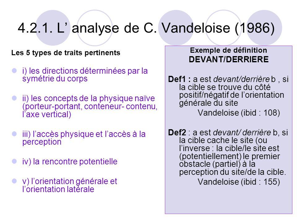 4.2.1. L' analyse de C. Vandeloise (1986) Les 5 types de traits pertinents  i) les directions déterminées par la symétrie du corps  ii) les concepts