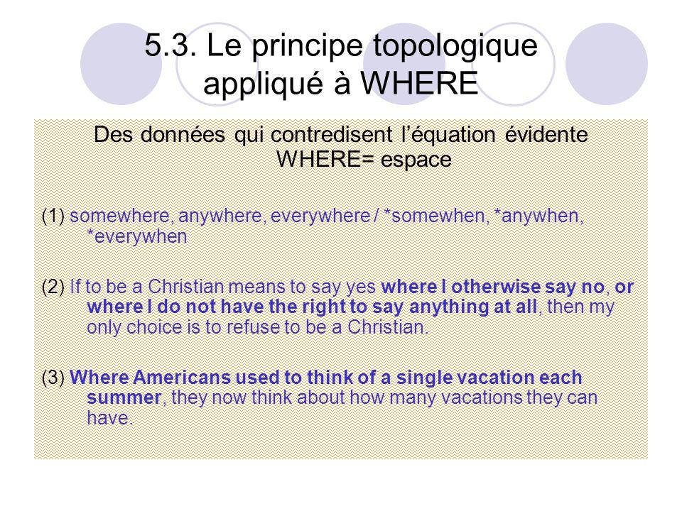 5.3. Le principe topologique appliqué à WHERE Des données qui contredisent l'équation évidente WHERE= espace (1) somewhere, anywhere, everywhere / *so