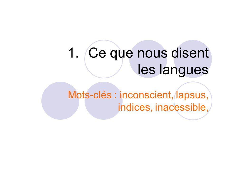 1.Ce que nous disent les langues Mots-clés : inconscient, lapsus, indices, inacessible,
