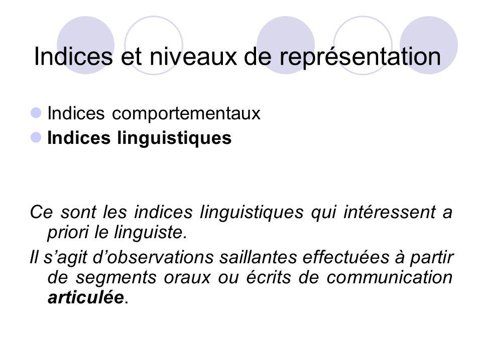Indices et niveaux de représentation  Indices comportementaux  Indices linguistiques Ce sont les indices linguistiques qui intéressent a priori le l