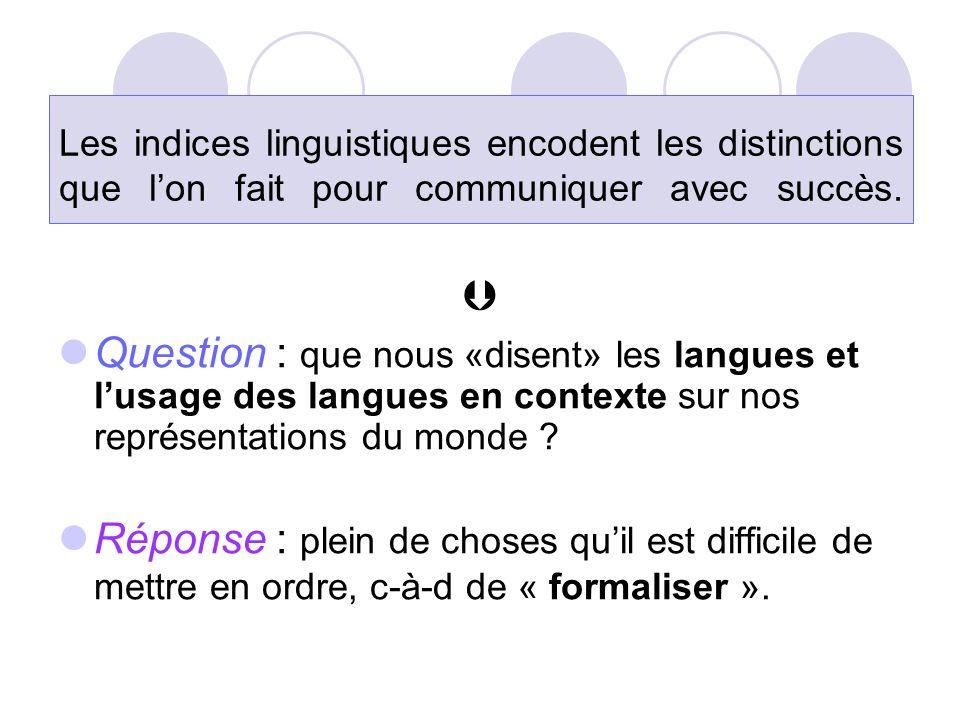 Les indices linguistiques encodent les distinctions que l'on fait pour communiquer avec succès.   Question : que nous «disent» les langues et l'usag