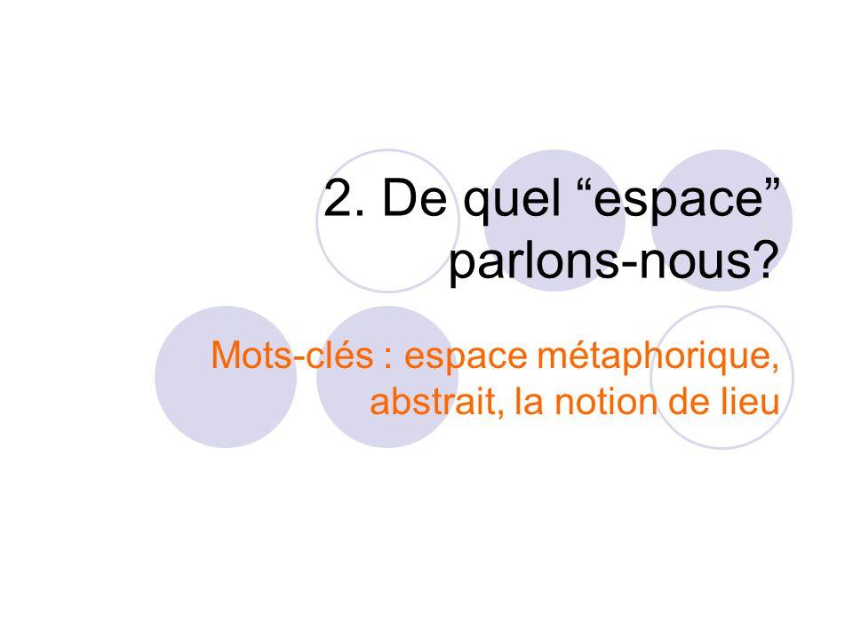 """2. De quel """"espace"""" parlons-nous? Mots-clés : espace métaphorique, abstrait, la notion de lieu"""