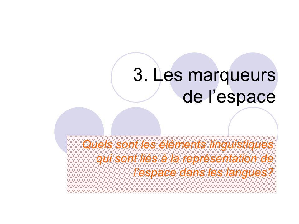 3. Les marqueurs de l'espace Quels sont les éléments linguistiques qui sont liés à la représentation de l'espace dans les langues?