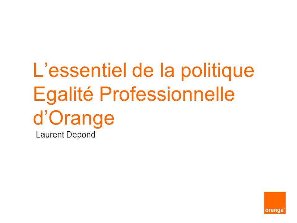 interne Orange presentation titletitre de la présentation Orange en France les chiffres clés de l'égalité professionnelle 35,9% taux de féminisation de l'effectif global (- 0.5 % / 2010) 31,2% taux de féminisation des managers ( ) 31% taux de féminisation des Codirs des directions Orange (+ 12% / 2010) 34,2% taux de féminisation des recrutements externes (+ 9% / 2010) 37,8% taux de féminisation des promotions (+ 4.2% / 2010)