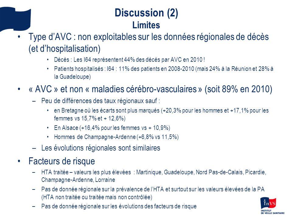Discussion (2) Limites •Type d'AVC : non exploitables sur les données régionales de décès (et d'hospitalisation) •Décès : Les I64 représentent 44% des décès par AVC en 2010 .