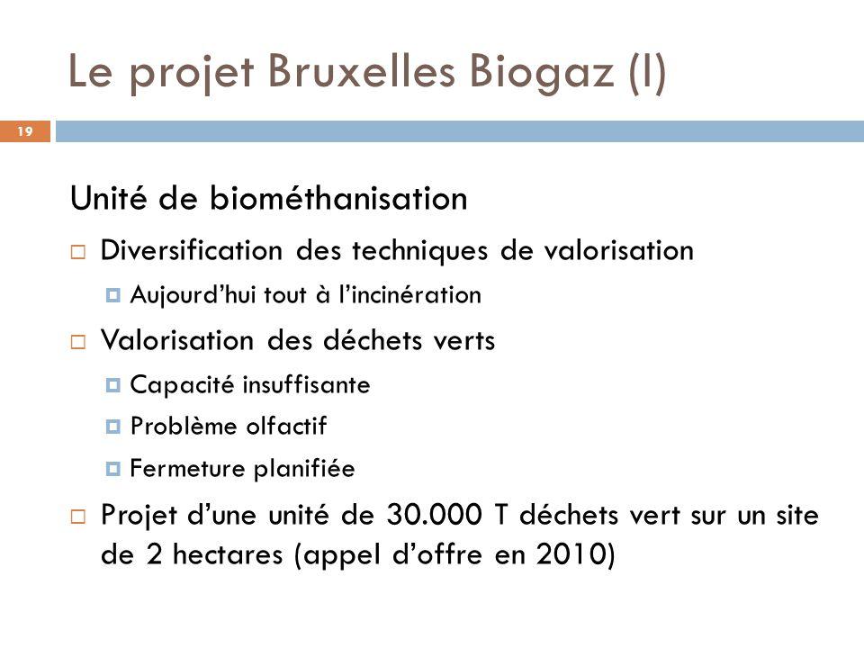 Unité de biométhanisation  Diversification des techniques de valorisation  Aujourd'hui tout à l'incinération  Valorisation des déchets verts  Capacité insuffisante  Problème olfactif  Fermeture planifiée  Projet d'une unité de 30.000 T déchets vert sur un site de 2 hectares (appel d'offre en 2010) Le projet Bruxelles Biogaz (I) 19