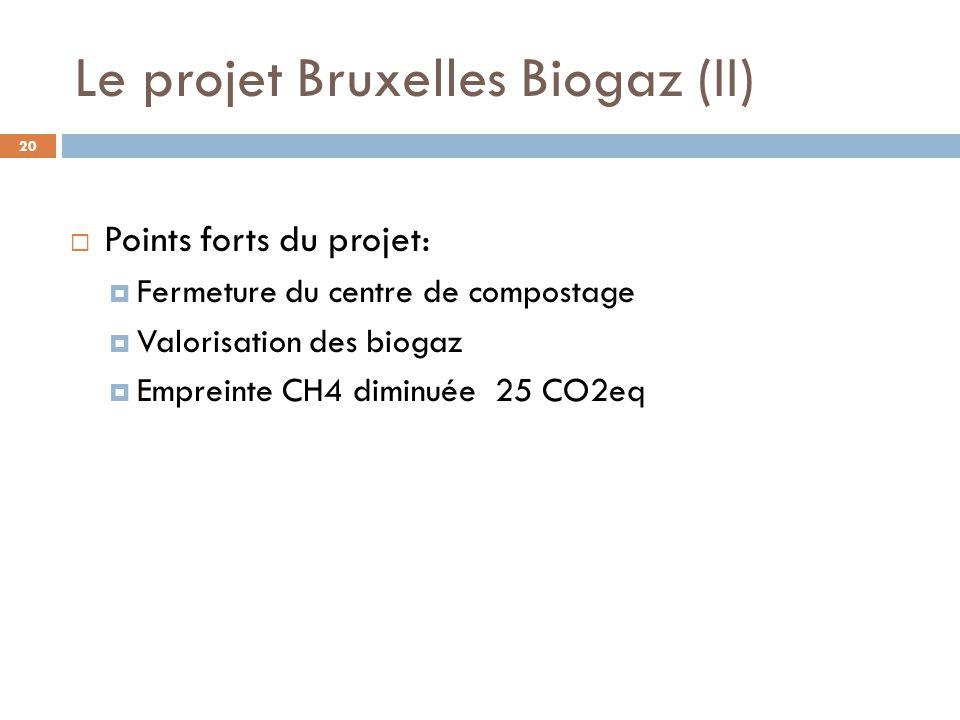 Le projet Bruxelles Biogaz (II)  Points forts du projet:  Fermeture du centre de compostage  Valorisation des biogaz  Empreinte CH4 diminuée 25 CO2eq 20