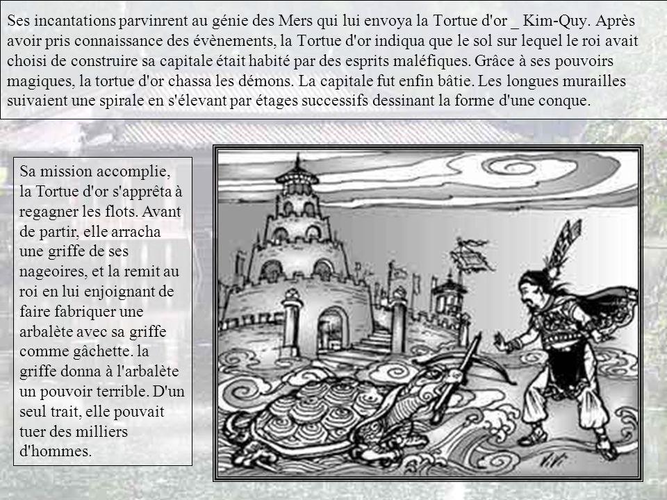 Et bien voilà… C'était en l'an 257 avant Jésus Christ. Sur les conseils des sages, le roi An-Duong-Vuong organisa une grande cérémonie pour demander a