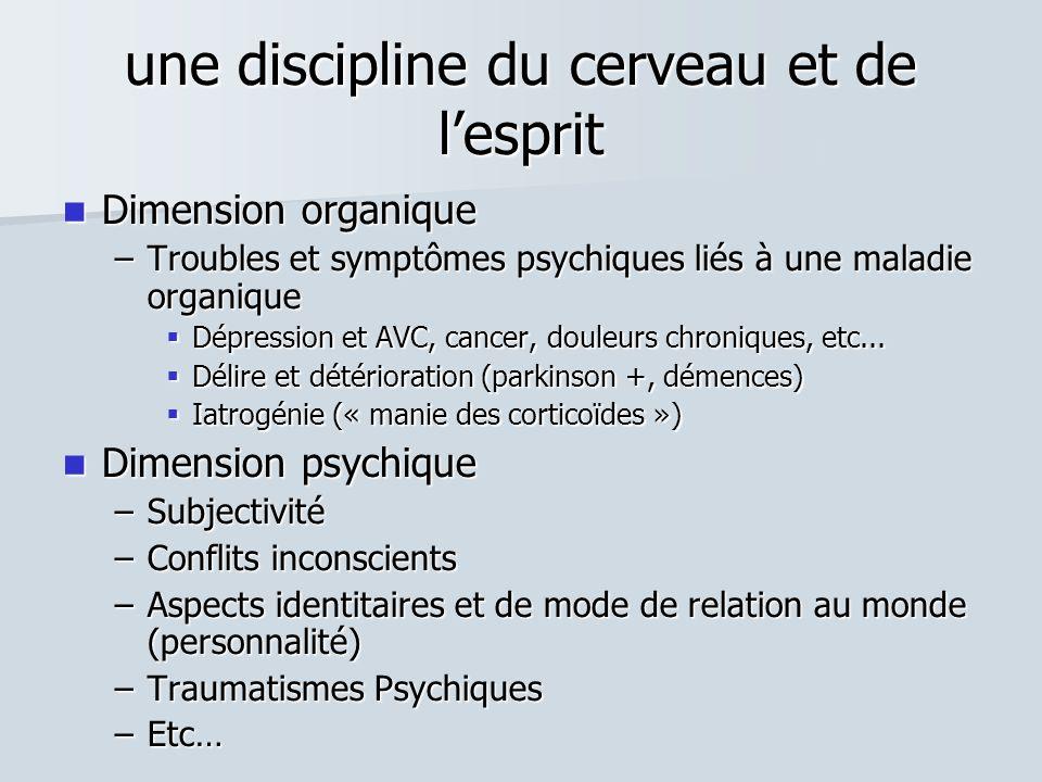 une discipline du cerveau et de l'esprit  Dimension organique –Troubles et symptômes psychiques liés à une maladie organique  Dépression et AVC, cancer, douleurs chroniques, etc...