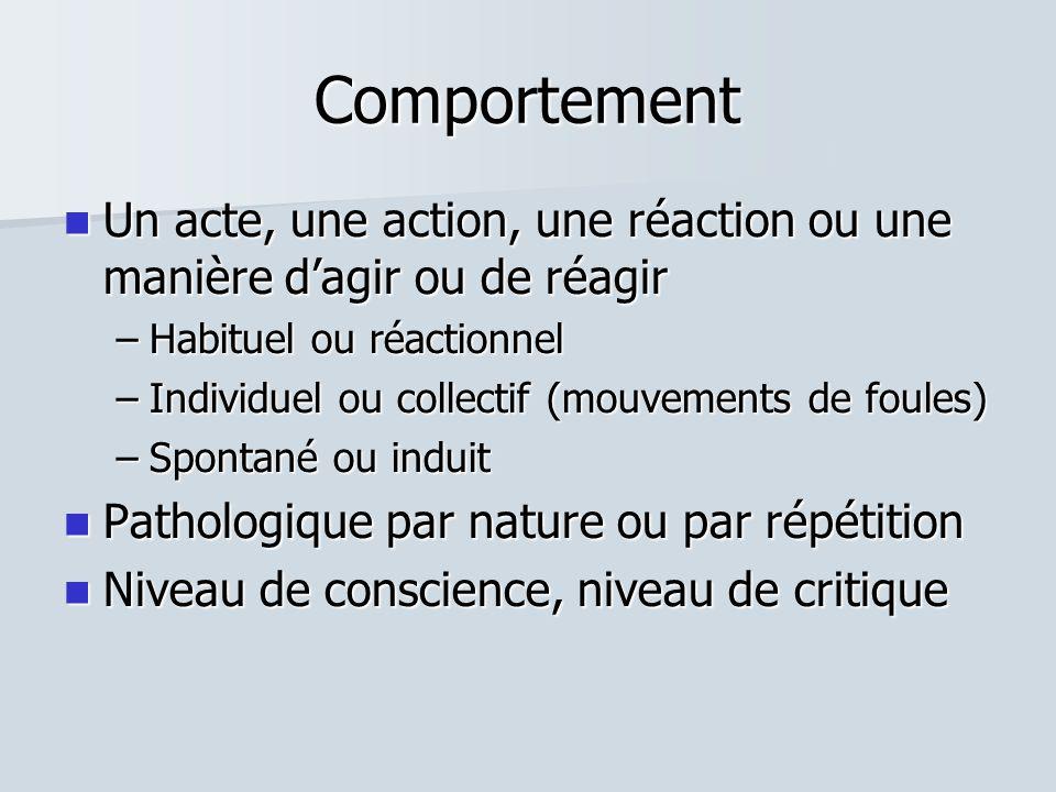 Comportement  Un acte, une action, une réaction ou une manière d'agir ou de réagir –Habituel ou réactionnel –Individuel ou collectif (mouvements de foules) –Spontané ou induit  Pathologique par nature ou par répétition  Niveau de conscience, niveau de critique