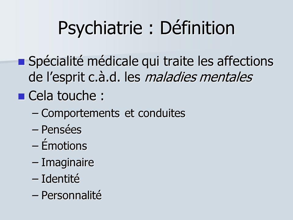 Psychiatrie : Définition  Spécialité médicale qui traite les affections de l'esprit c.à.d.
