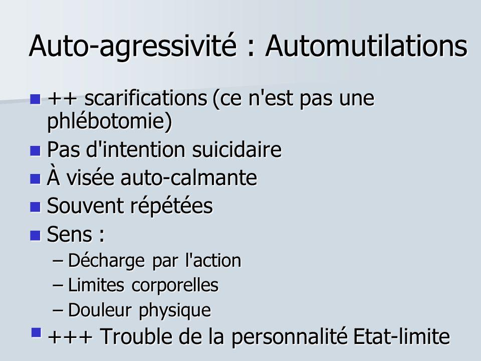 Auto-agressivité : Automutilations  ++ scarifications (ce n est pas une phlébotomie)  Pas d intention suicidaire  À visée auto-calmante  Souvent répétées  Sens : –Décharge par l action –Limites corporelles –Douleur physique  +++ Trouble de la personnalité Etat-limite