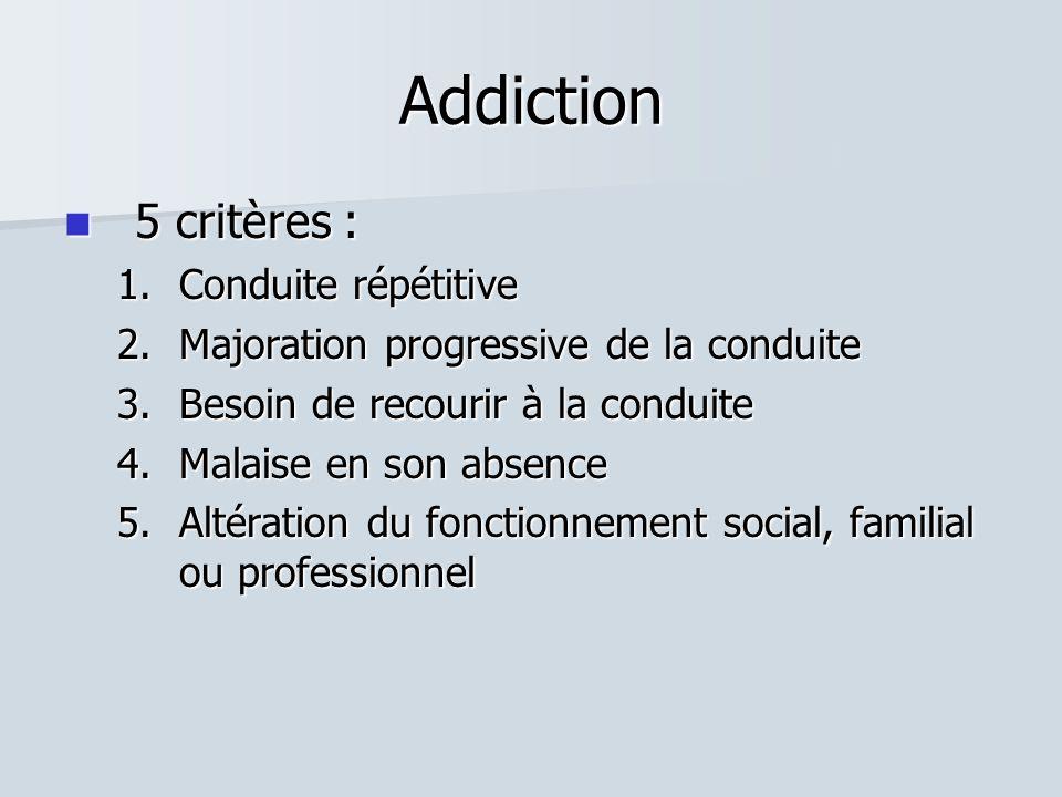 Addiction  5 critères : 1.Conduite répétitive 2.Majoration progressive de la conduite 3.Besoin de recourir à la conduite 4.Malaise en son absence 5.Altération du fonctionnement social, familial ou professionnel