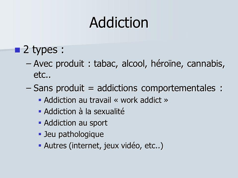 Addiction  2 types : –Avec produit : tabac, alcool, héroïne, cannabis, etc..