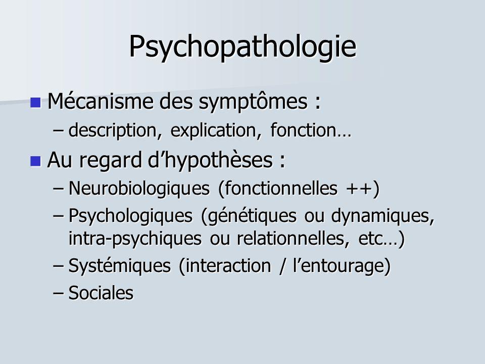 Psychopathologie  Mécanisme des symptômes : –description, explication, fonction…  Au regard d'hypothèses : –Neurobiologiques (fonctionnelles ++) –Psychologiques (génétiques ou dynamiques, intra-psychiques ou relationnelles, etc…) –Systémiques (interaction / l'entourage) –Sociales