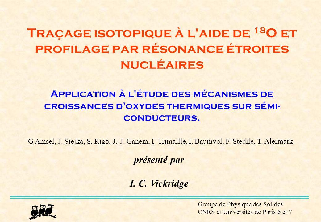 Groupe de Physique des Solides CNRS et Universités de Paris 6 et 7 Profilage par résonance étroite nucléaire 18 O(p,  ) 15 N resonance at 151 keV.