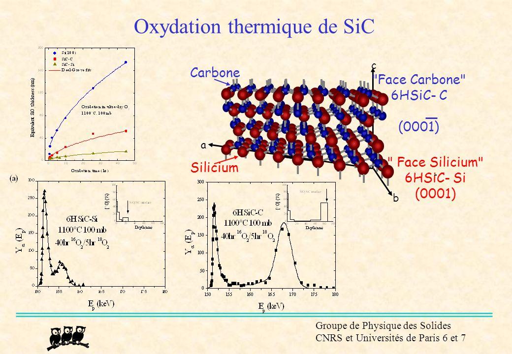 Groupe de Physique des Solides CNRS et Universités de Paris 6 et 7 Oxydation thermique de SiC