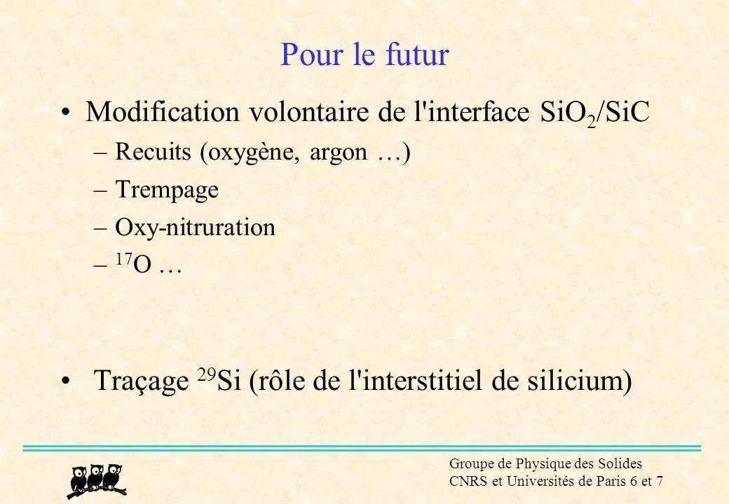 Groupe de Physique des Solides CNRS et Universités de Paris 6 et 7 Pour le futur •Modification volontaire de l'interface SiO 2 /SiC –Recuits (oxygène,