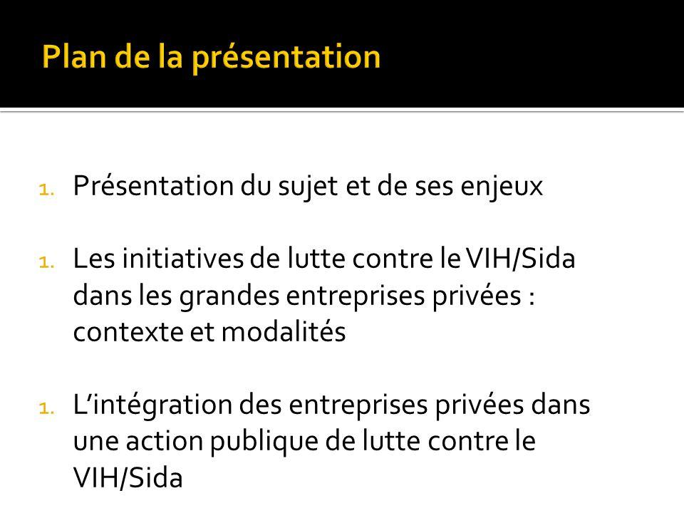 1. Présentation du sujet et de ses enjeux 1. Les initiatives de lutte contre le VIH/Sida dans les grandes entreprises privées : contexte et modalités