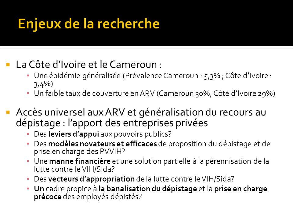  La Côte d'Ivoire et le Cameroun : ▪ Une épidémie généralisée (Prévalence Cameroun : 5,3% ; Côte d'Ivoire : 3,4%) ▪ Un faible taux de couverture en A