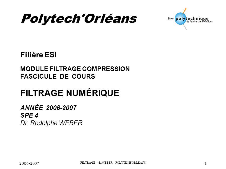 2006-2007 FILTRAGE - R.WEBER - POLYTECH ORLEANS 2 PLAN : - La quantification : - application au convertisseur analogique numérique - application aux filtres numériques en virgule fixe -les filtres récursifs - Quantification des coefficients - Quantification des opérateurs - Optimisation d'une structure -les filtres non récursifs - autres implantations possibles