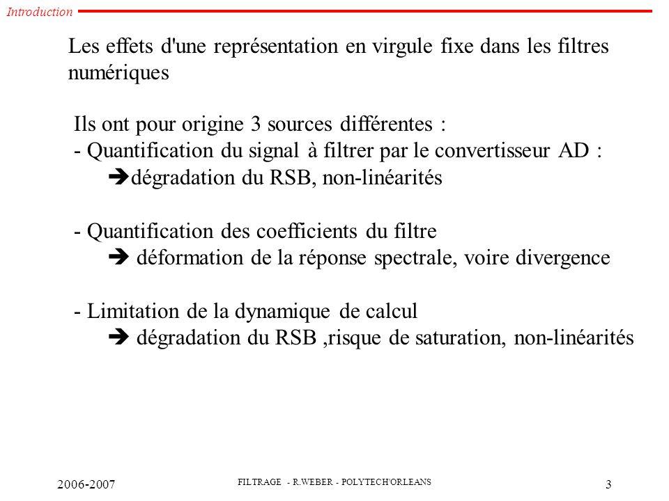 2006-2007 FILTRAGE - R.WEBER - POLYTECH ORLEANS 3 Les effets d une représentation en virgule fixe dans les filtres numériques Ils ont pour origine 3 sources différentes : - Quantification du signal à filtrer par le convertisseur AD :  dégradation du RSB, non-linéarités - Quantification des coefficients du filtre  déformation de la réponse spectrale, voire divergence - Limitation de la dynamique de calcul  dégradation du RSB,risque de saturation, non-linéarités Introduction