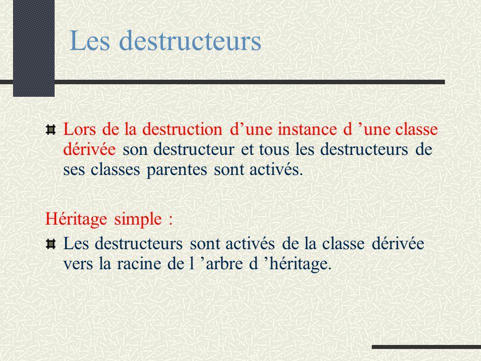 Les constructeurs Héritage simple : Les constructeurs sont activés de la racine de l 'arbre d 'héritage vers les classes dérivées Activation : d 'un c